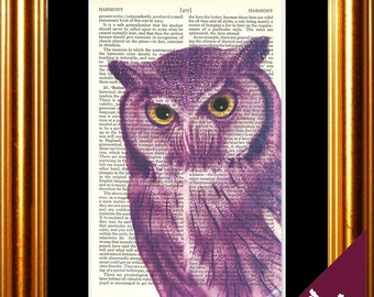 Stunning Owl with piercing eyes Print on repurposed vintage book page