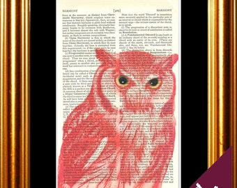 Stunning Owl Coloured brick red with piercing eyes Print on repurposed vintage book page mixed media  digital