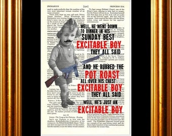 Warren Zevon Excitable Boy song lyric Print on upcycled Vintage Page mixed media  digital