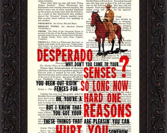 The Eagles Desperado Song Lyrics print on upcycled Vintage Page mixed media  digital