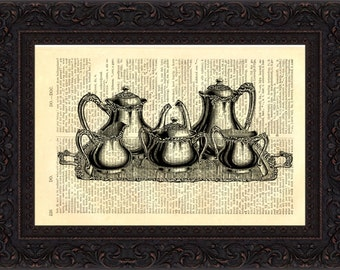Antique Silver Tea Set Print on vintage upcycled Dictionary page mixed media  digital