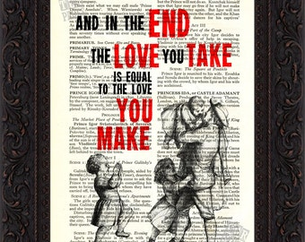 The Beatles  And In The END  song lyric Print on upcycled Vintage Page mixed media digital print
