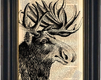 Majestic Moose Head  Engraving Print on vintage upcycled page Mixed Media Original old book page
