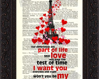 Nils Lofgren Be My Valentine  Paris  love   Print on Recycled  Antique Page Mixed Media Original  Old Book