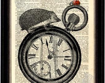 Ladybug and Hedgehog on Watch Print on Upcycled 1896 Latin English Dictionary Page