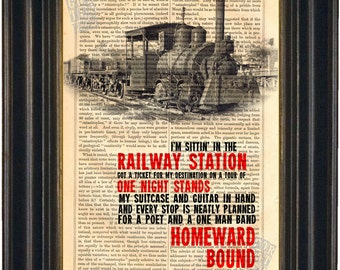 Homeward Bound song lyric Print on upcycled Vintage Page mixed media digital