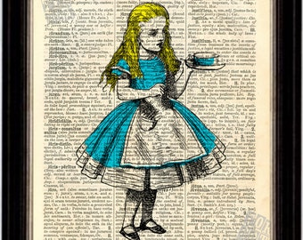 Alice In Wonderland with tea cup  print on vintage  upcycled book page
