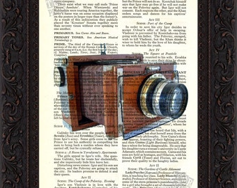 Antique Classic Wooden Camera Print on upcycled Book Page