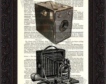 Old Classic Double Camera Print on upcycled Vintage Page mixed media  digital