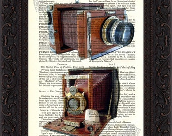 Double Vintage Wooden Camera Print on upcycled Vintage Page