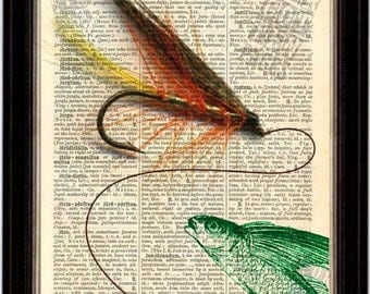 Fishing Fly and flying Fish Print on Vintage Repurposed Dictionary Page mixed media digital