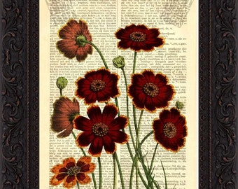 Flower engraving Greenthreads Print on upcycled Vintage Dictionary  Page mixed media digital page