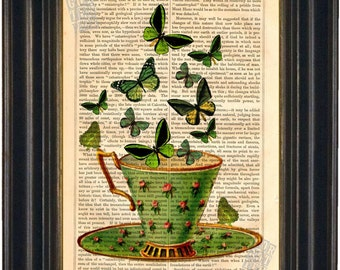Green Cup with Green Butterflies  Print on upcycled V intage Page