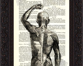 Part Back view of Human Muscles Print on upcycled Vintage Page mixed media digital print art