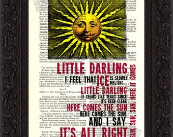 The Beatles Here Comes The Sun Song Lyrics print on upcycled Vintage Page