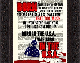 Bruce Springsteen Born In The USA  song lyric Print on upcycled Vintage Page mixed media  digital