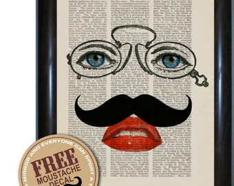 Eyes and Lips with moustache Altered Art  mixed media digital Print on repurposed 1910's Harmsworth encyclopaedia Page