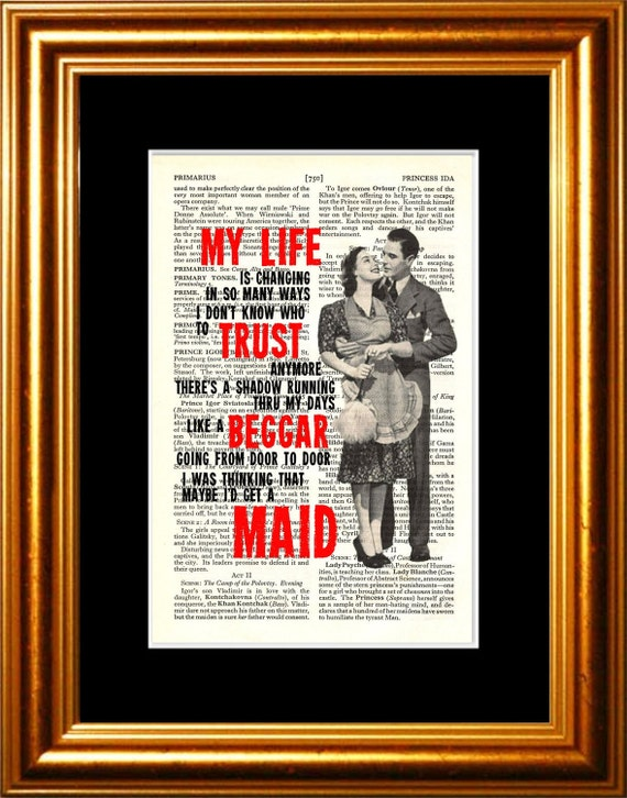 Neil Young A Man Needs A maid  song lyric Print on upcycled Vintage Page mixed media  digital