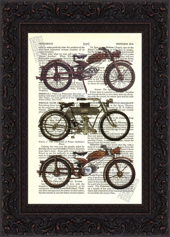 Old Motorcycles3 Print on vintage upcycled page mixed media digital