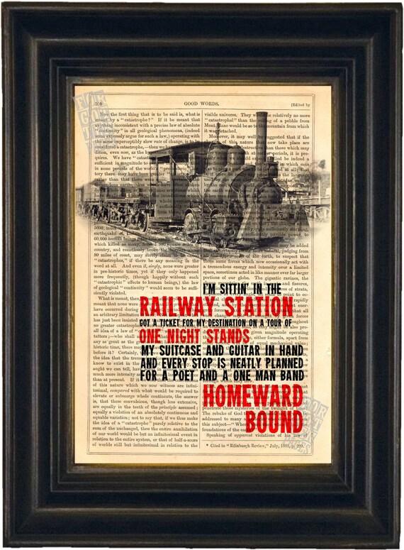 Homeward Bound song lyric Print on upcycled Vintage Page mixed media digital