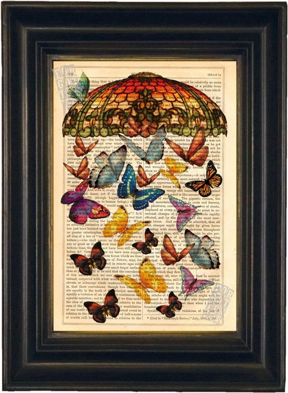 Vintage Tiffany Shade with Butterflies Print on upcycled Vintage 1890's Page