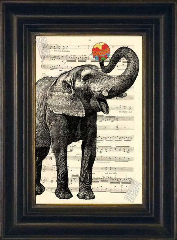 Elephant with Ball  print on upcycled Vintage 1920's Sheet Music Page mixedd media digital page ink animal
