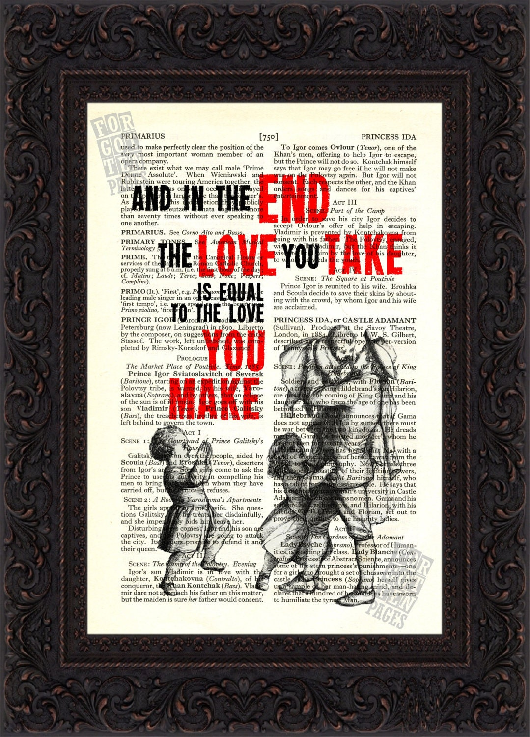 the beatles and in the end song lyric print on upcycled. Black Bedroom Furniture Sets. Home Design Ideas