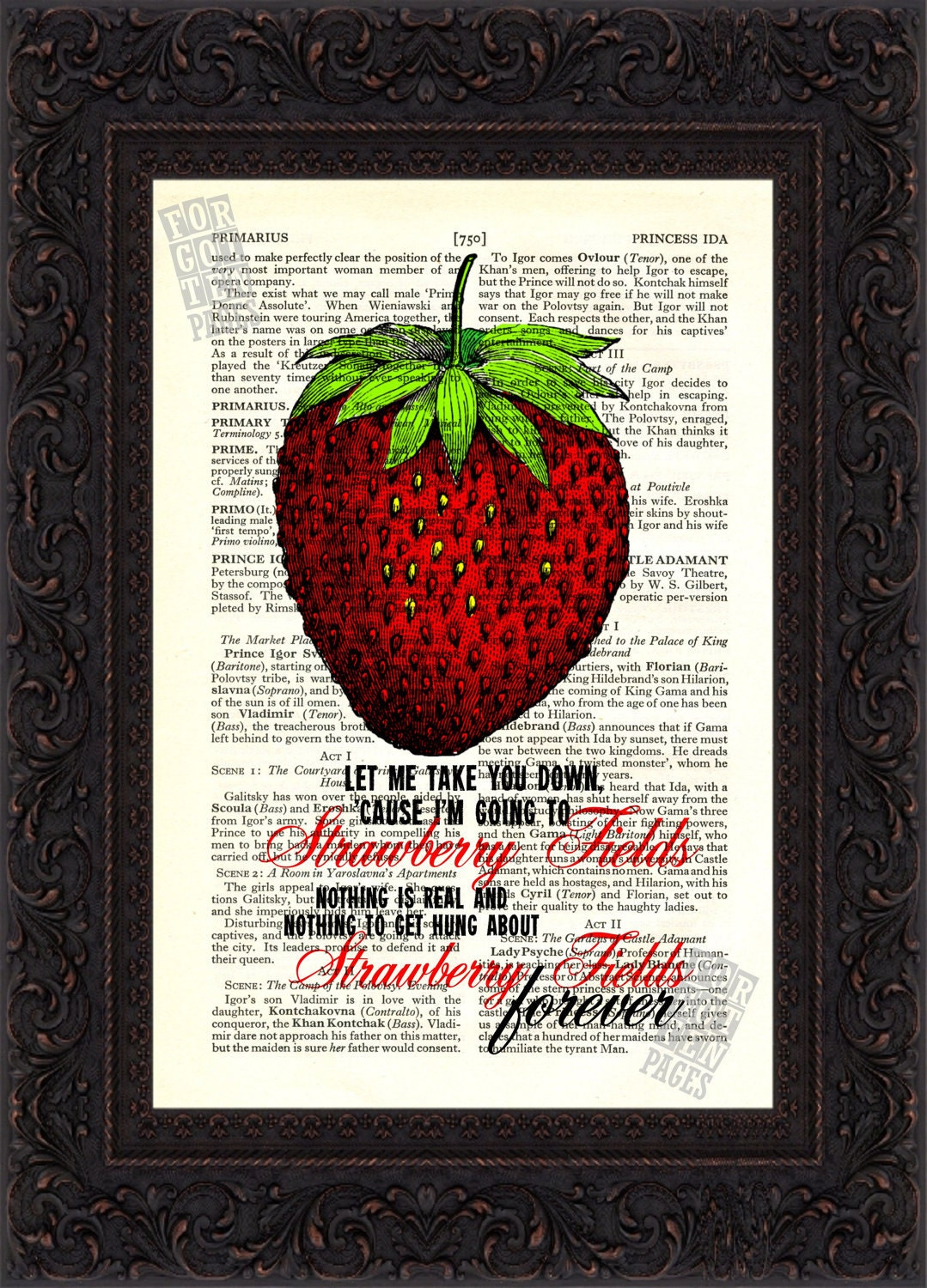 The Beatles Strawberry Fields Forever On Upcycled Vintage Page