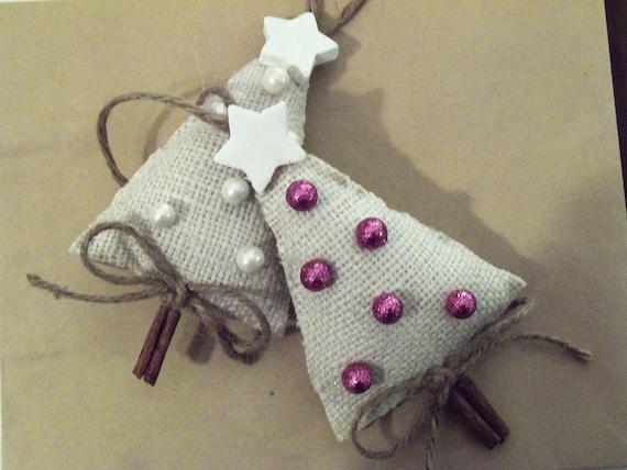 Burlap Cinnamon Stick Little Christmas Trees Ornament Set