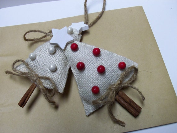 Burlap Cinnamon Stick Christmas Tree Ornaments