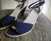 Vintage Navy Ankle Strap Wedges/Nautical/Size 7