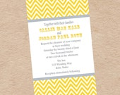 Chevron Yellow and Grey Wedding Invitation - DIY Printable