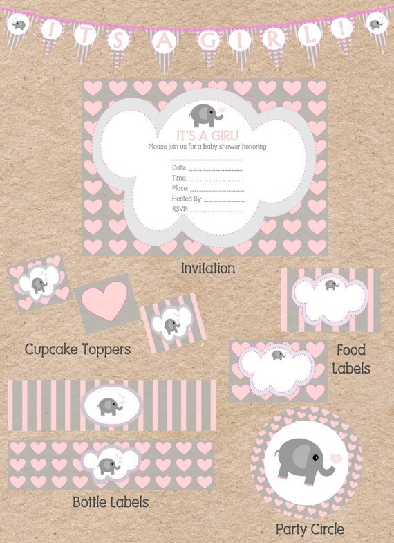 items similar to cute elephant love themed girl baby. Black Bedroom Furniture Sets. Home Design Ideas