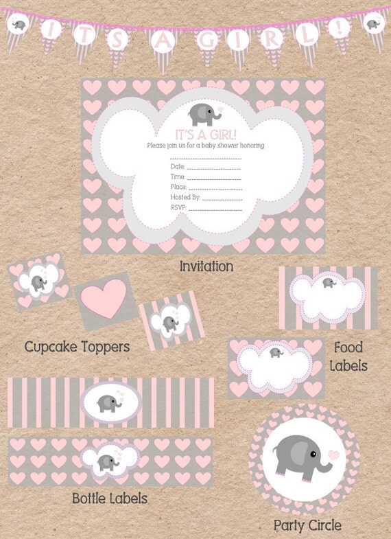 cute elephant love themed girl baby shower decorations and invitation