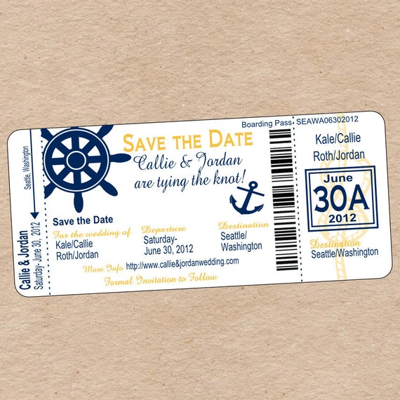 Nautical Themed Wedding Invitations: Nautical Boarding Pass Save The Date Or Wedding Invitation