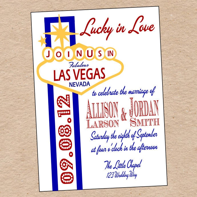 las vegas wedding invitation or save the date by decorabledesigns