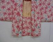 Free Shipping Japanese Vintage Haori jacket/ pink and white/ flowers