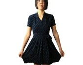 navy wrap dress 1990s grunge clothing short sleeve with pockets