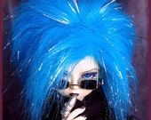 """BJD Fur Wig / Mardi Gras Blue style / made-to-order in your choice of size / for large BJD, 8-9"""" head size"""
