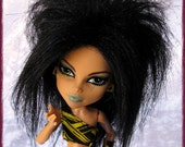 Monster High Fur Wig / Black Fox style / synthetic fur wig / made-to-order
