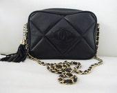 "Vintage 1980s BLACK CHANEL ""CC"" Crossbody Handbag in Lambskin Leather"