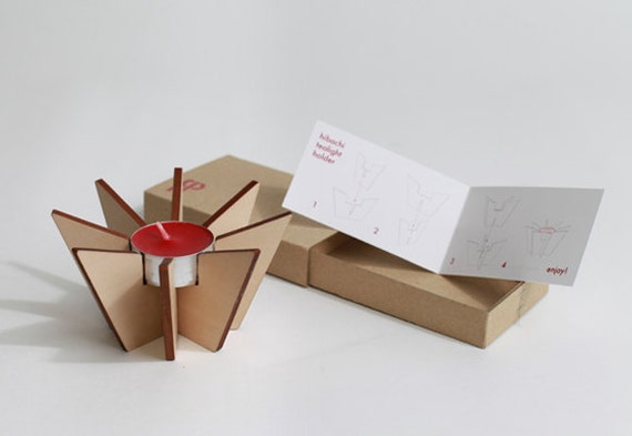 Hibachi Tealight Holder -  a flat packable candle holder - with a RED tealight candle
