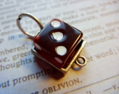 Cool red dice industrial inspired charm pendant