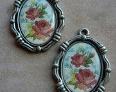 2 Rose Vintage inpired charm pendants