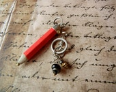 Red pencil industrial inpired charm pendant