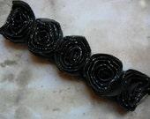 Vintage inspired black organza rose connector