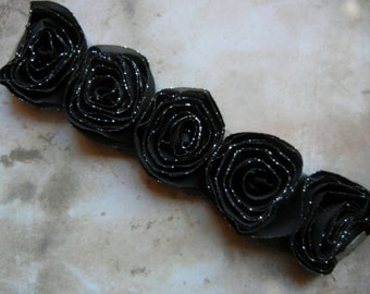 Vintage inspired black organza rose connector