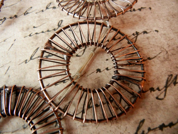 6 Large Copper wire wrapped beads