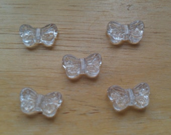 Small Clear Butterfly Beads
