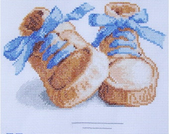 Cross Stitch Baby Shoes Metric Baby Boy